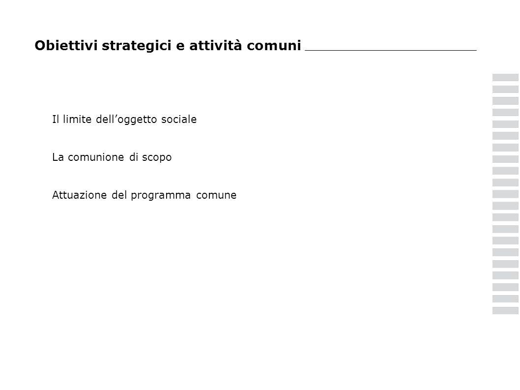 Obiettivi strategici e attività comuni Il limite delloggetto sociale La comunione di scopo Attuazione del programma comune