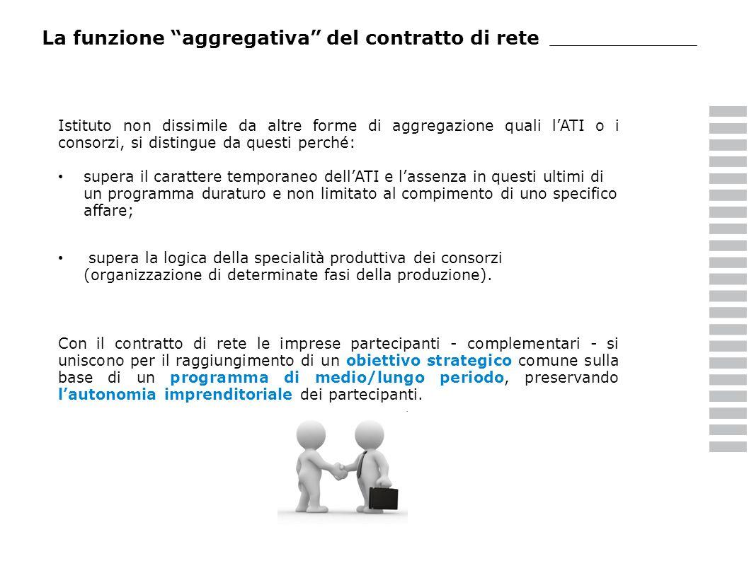 La funzione aggregativa del contratto di rete Istituto non dissimile da altre forme di aggregazione quali lATI o i consorzi, si distingue da questi pe