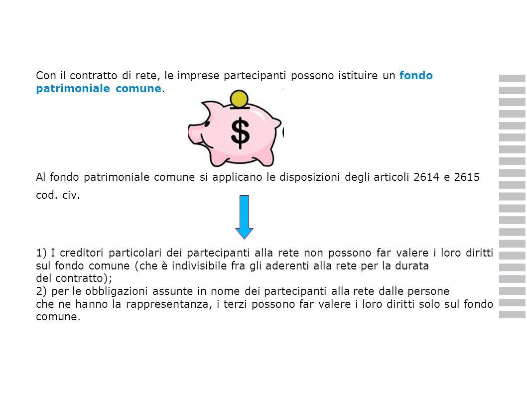 Con il contratto di rete, le imprese partecipanti possono istituire un fondo patrimoniale comune.
