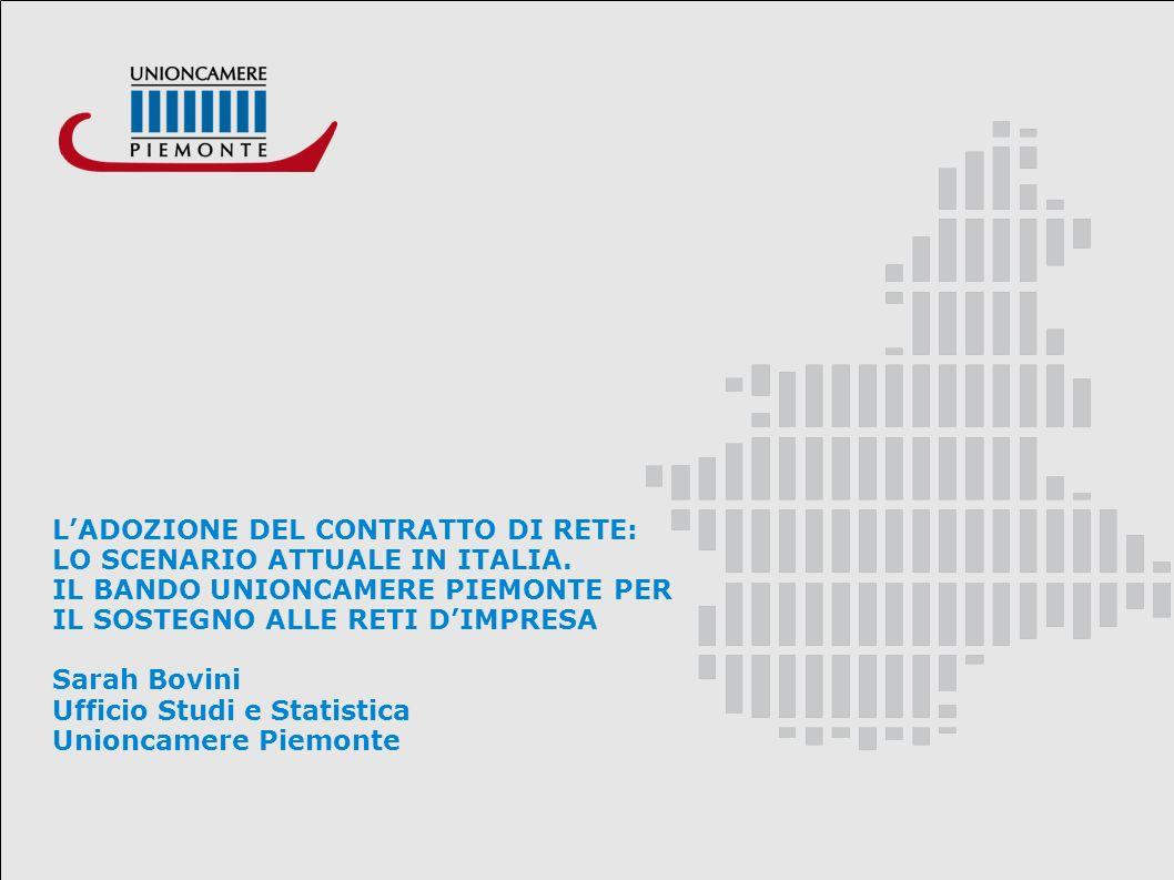 LADOZIONE DEL CONTRATTO DI RETE: LO SCENARIO ATTUALE IN ITALIA. IL BANDO UNIONCAMERE PIEMONTE PER IL SOSTEGNO ALLE RETI DIMPRESA Sarah Bovini Ufficio