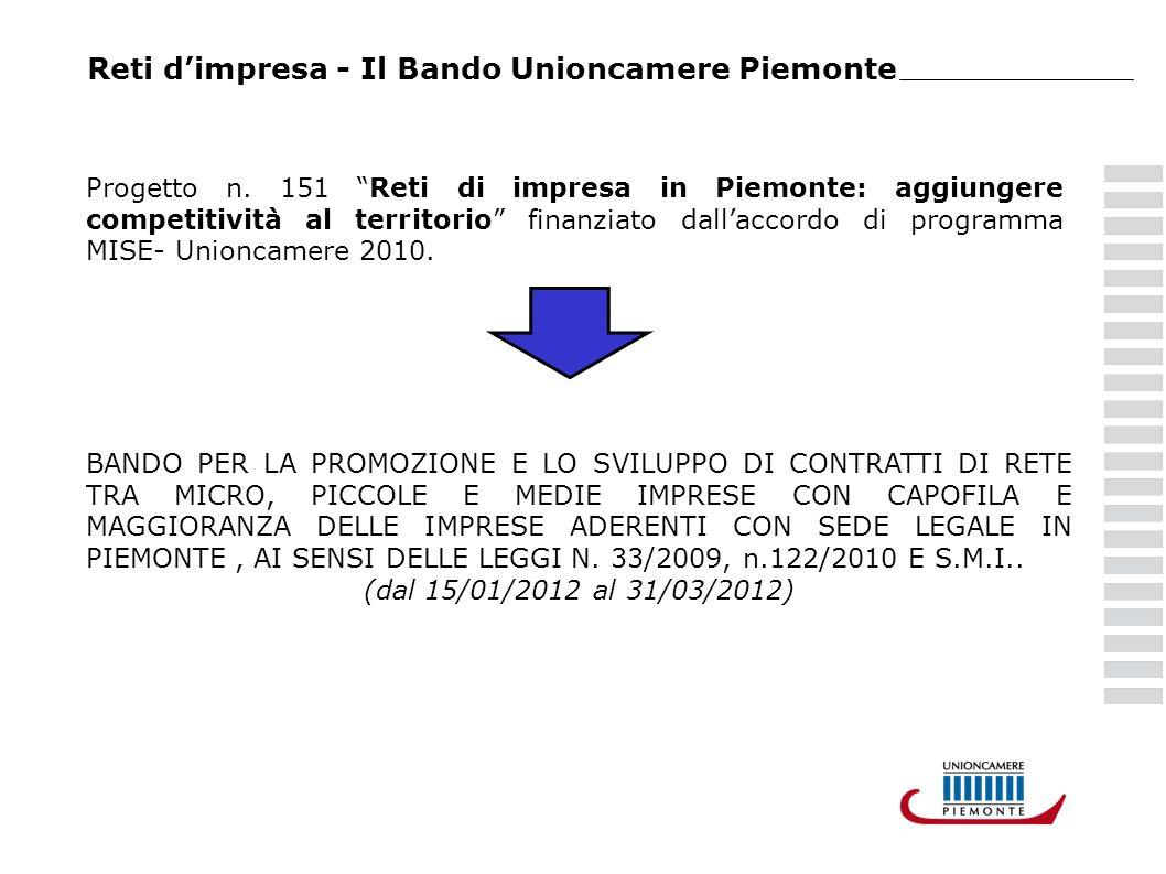 Reti dimpresa - Il Bando Unioncamere Piemonte Progetto n. 151 Reti di impresa in Piemonte: aggiungere competitività al territorio finanziato dallaccor