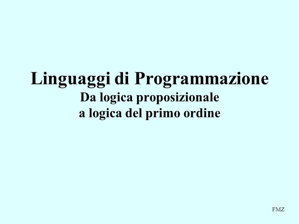 FMZ Linguaggi di Programmazione Da logica proposizionale a logica del primo ordine