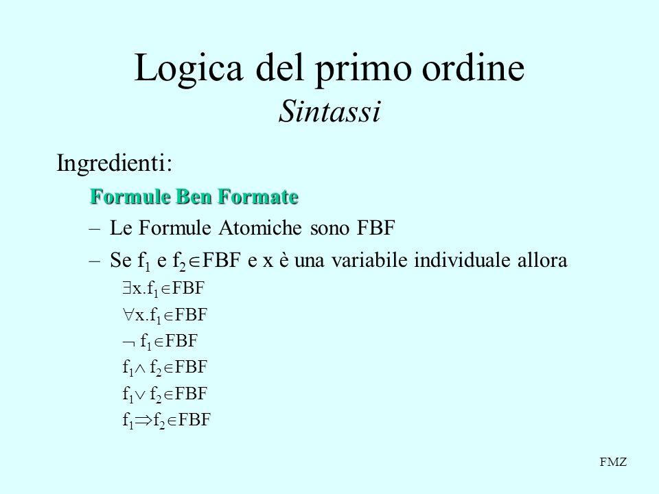 FMZ Logica del primo ordine Sintassi Ingredienti: Formule Ben Formate –Le Formule Atomiche sono FBF –Se f 1 e f 2 FBF e x è una variabile individuale allora x.f 1 FBF f 1 FBF f 1 f 2 FBF