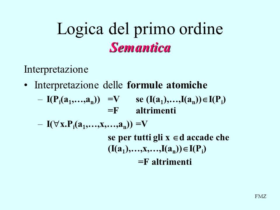 FMZ Semantica Logica del primo ordine Semantica Interpretazione Interpretazione delle formule atomiche –I(P i (a 1,…,a n ))=V se (I(a 1 ),…,I(a n )) I(P i ) =Faltrimenti –I( x.P i (a 1,…,x,…,a n ))=V se per tutti gli x d accade che (I(a 1 ),…,x,…,I(a n )) I(P i ) =F altrimenti