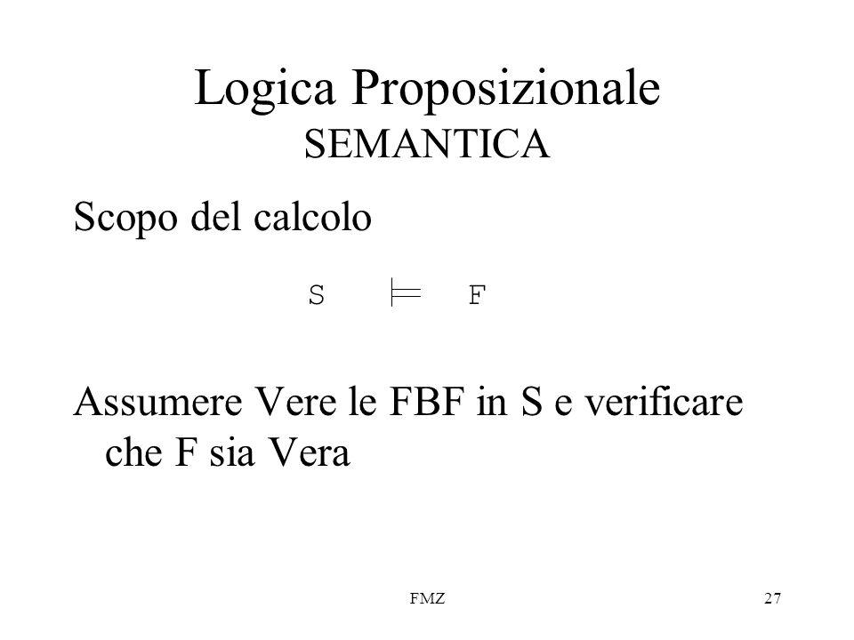 FMZ27 Scopo del calcolo Assumere Vere le FBF in S e verificare che F sia Vera Logica Proposizionale SEMANTICA SF