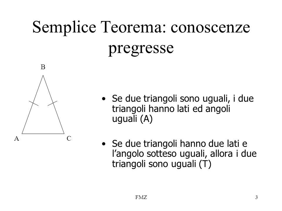 FMZ3 Semplice Teorema: conoscenze pregresse Se due triangoli sono uguali, i due triangoli hanno lati ed angoli uguali (A) Se due triangoli hanno due l