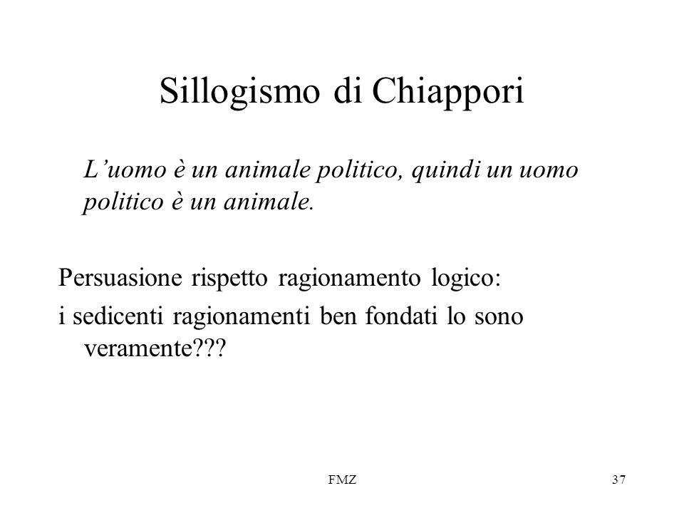 FMZ37 Sillogismo di Chiappori Luomo è un animale politico, quindi un uomo politico è un animale. Persuasione rispetto ragionamento logico: i sedicenti