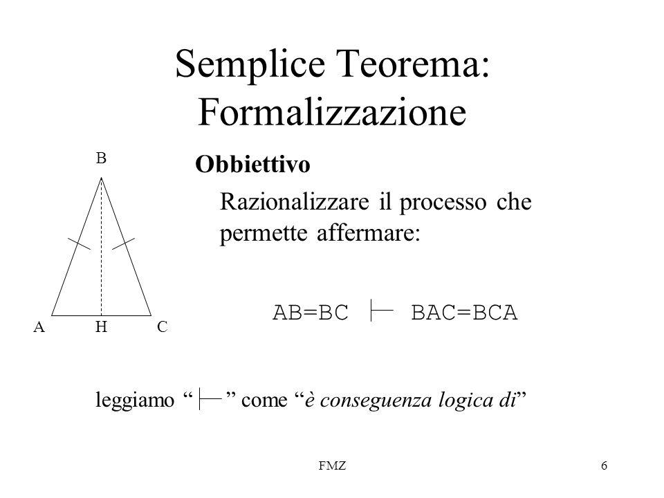 FMZ6 Semplice Teorema: Formalizzazione Obbiettivo Razionalizzare il processo che permette affermare: AC B H AB=BCBAC=BCA leggiamo come è conseguenza l