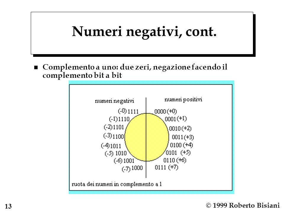 14 © 1999 Roberto Bisiani Numeri negativi, cont n Complemento a due: uno zero, negazione facendo complemento a 1 e somma di 1.