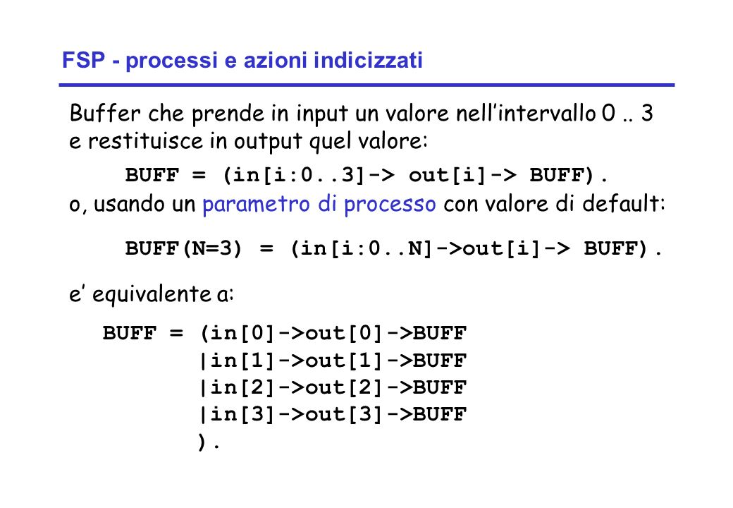Concurrency: introduction11 ©Magee/Kramer Buffer che prende in input un valore nellintervallo 0.. 3 e restituisce in output quel valore: FSP - process
