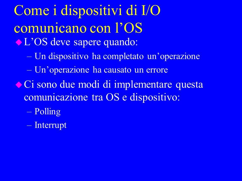 Come i dispositivi di I/O comunicano con lOS u LOS deve sapere quando: –Un dispositivo ha completato unoperazione –Unoperazione ha causato un errore u Ci sono due modi di implementare questa comunicazione tra OS e dispositivo: –Polling –Interrupt
