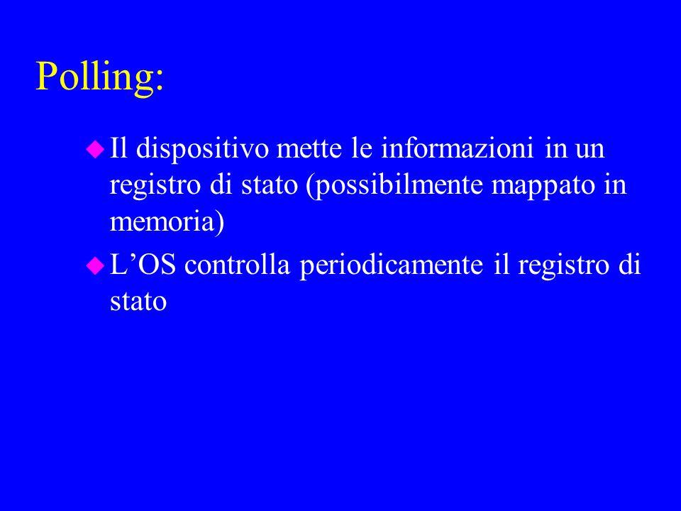 Polling: u Il dispositivo mette le informazioni in un registro di stato (possibilmente mappato in memoria) u LOS controlla periodicamente il registro di stato
