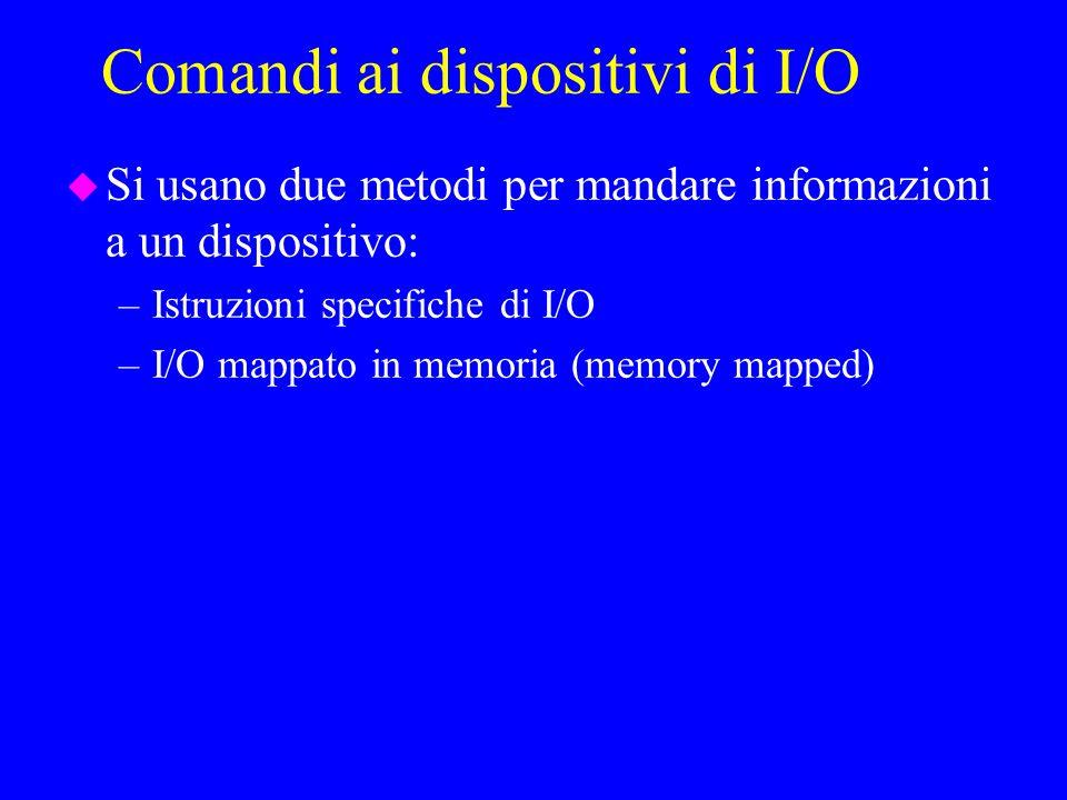 Comandi ai dispositivi di I/O u Si usano due metodi per mandare informazioni a un dispositivo: –Istruzioni specifiche di I/O –I/O mappato in memoria (memory mapped)