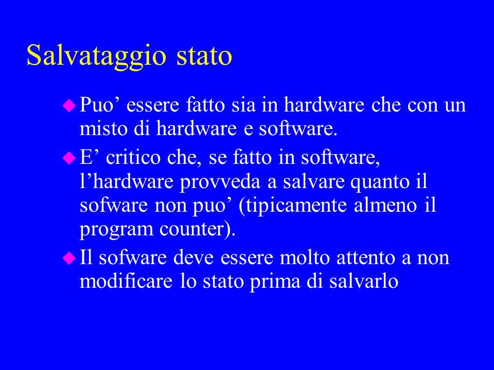 Salvataggio stato u Puo essere fatto sia in hardware che con un misto di hardware e software.