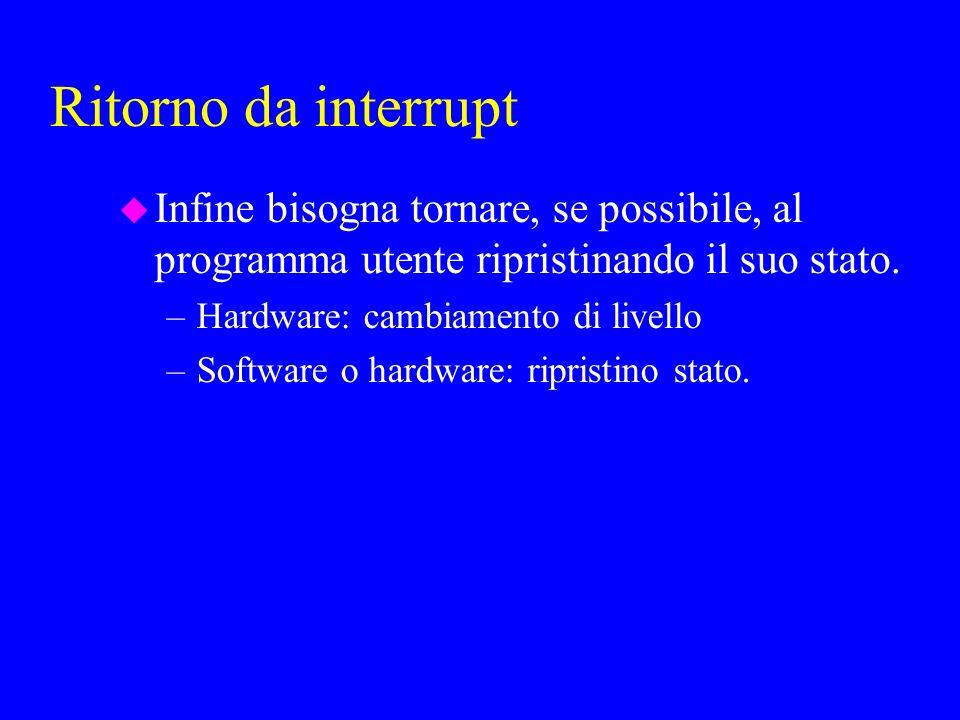 Ritorno da interrupt u Infine bisogna tornare, se possibile, al programma utente ripristinando il suo stato.