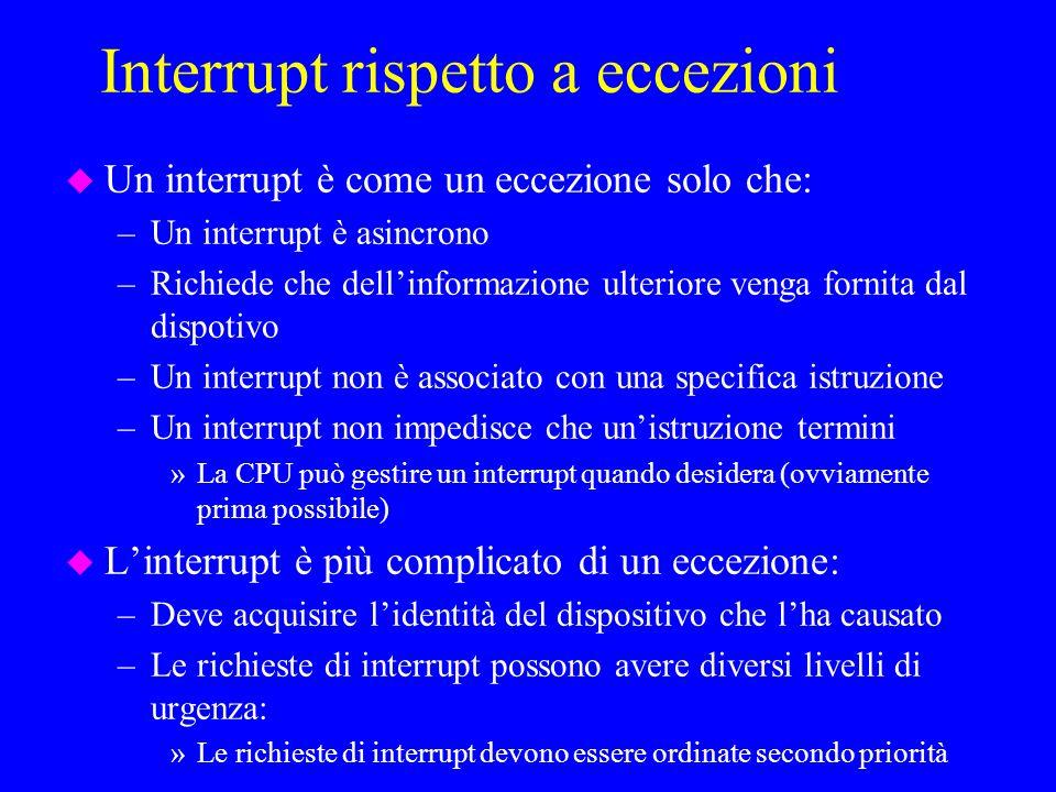 Interrupt rispetto a eccezioni u Un interrupt è come un eccezione solo che: –Un interrupt è asincrono –Richiede che dellinformazione ulteriore venga fornita dal dispotivo –Un interrupt non è associato con una specifica istruzione –Un interrupt non impedisce che unistruzione termini »La CPU può gestire un interrupt quando desidera (ovviamente prima possibile) u Linterrupt è più complicato di un eccezione: –Deve acquisire lidentità del dispositivo che lha causato –Le richieste di interrupt possono avere diversi livelli di urgenza: »Le richieste di interrupt devono essere ordinate secondo priorità
