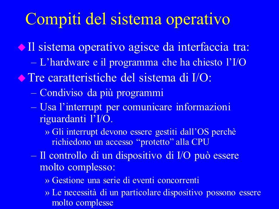 Compiti del sistema operativo u Il sistema operativo agisce da interfaccia tra: –Lhardware e il programma che ha chiesto lI/O u Tre caratteristiche del sistema di I/O: –Condiviso da più programmi –Usa linterrupt per comunicare informazioni riguardanti lI/O.