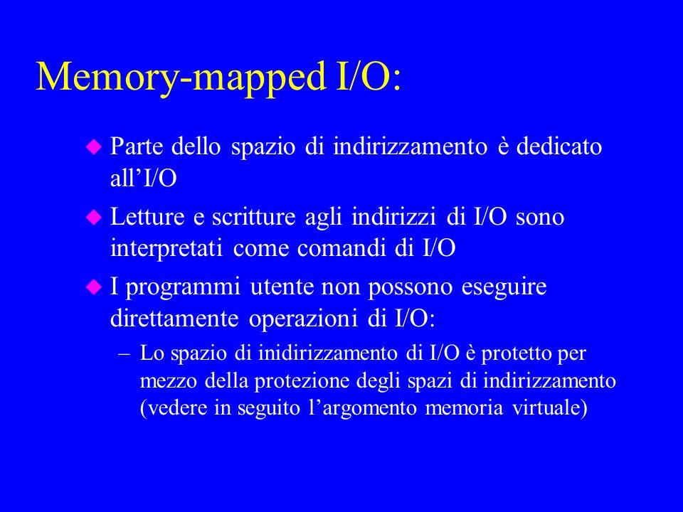 Memory-mapped I/O: u Parte dello spazio di indirizzamento è dedicato allI/O u Letture e scritture agli indirizzi di I/O sono interpretati come comandi di I/O u I programmi utente non possono eseguire direttamente operazioni di I/O: –Lo spazio di inidirizzamento di I/O è protetto per mezzo della protezione degli spazi di indirizzamento (vedere in seguito largomento memoria virtuale)