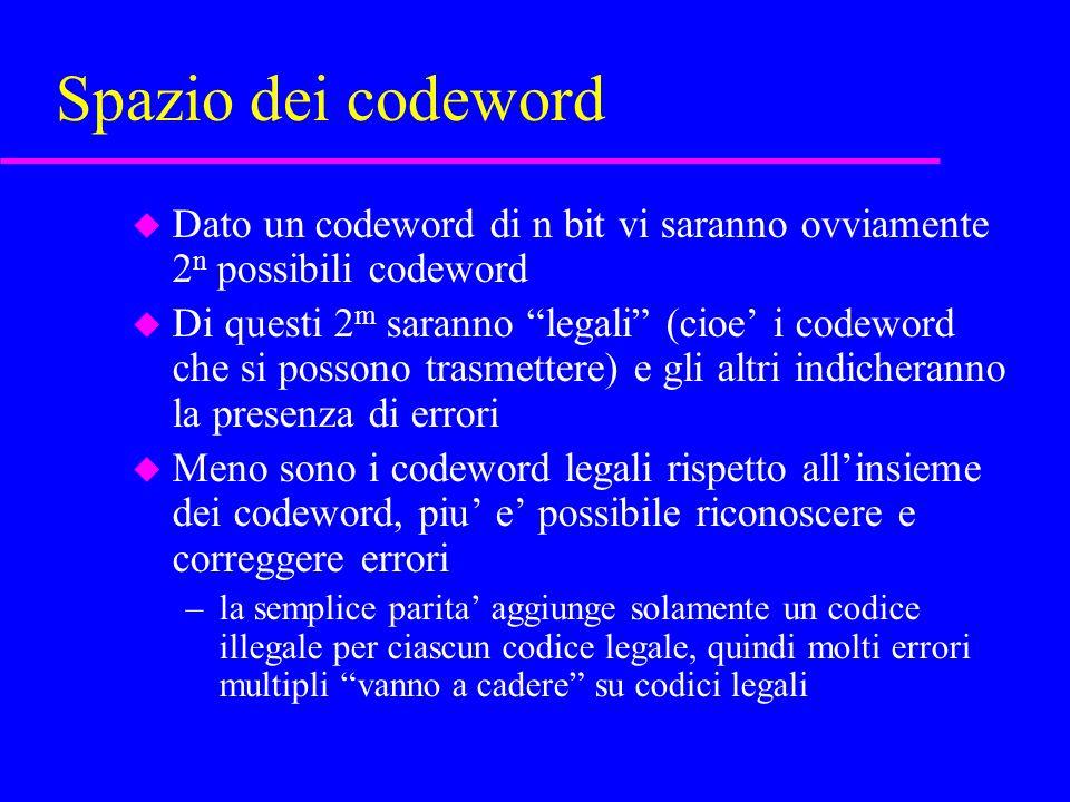 Correzione di errore, esempio u rappresentiamo 1 con 111 e 0 con 000 –n=3, m=1, r=2 –Hamming distance=3 u se trasmettiamo 000 e la linea introduce 1 bit di errore i codici possibili sono tre: 001 010 100 –ciascuno di questi codici e a distanza 1 dal codice corretto e a distanza 2 dal codice legale non corretto –SE assumiamo che ci sia stato un bit di errore possiamo correggere ciascuno di questi codeword a 000 –MA se ci sono due bit di errore la correzione e sbagliata!