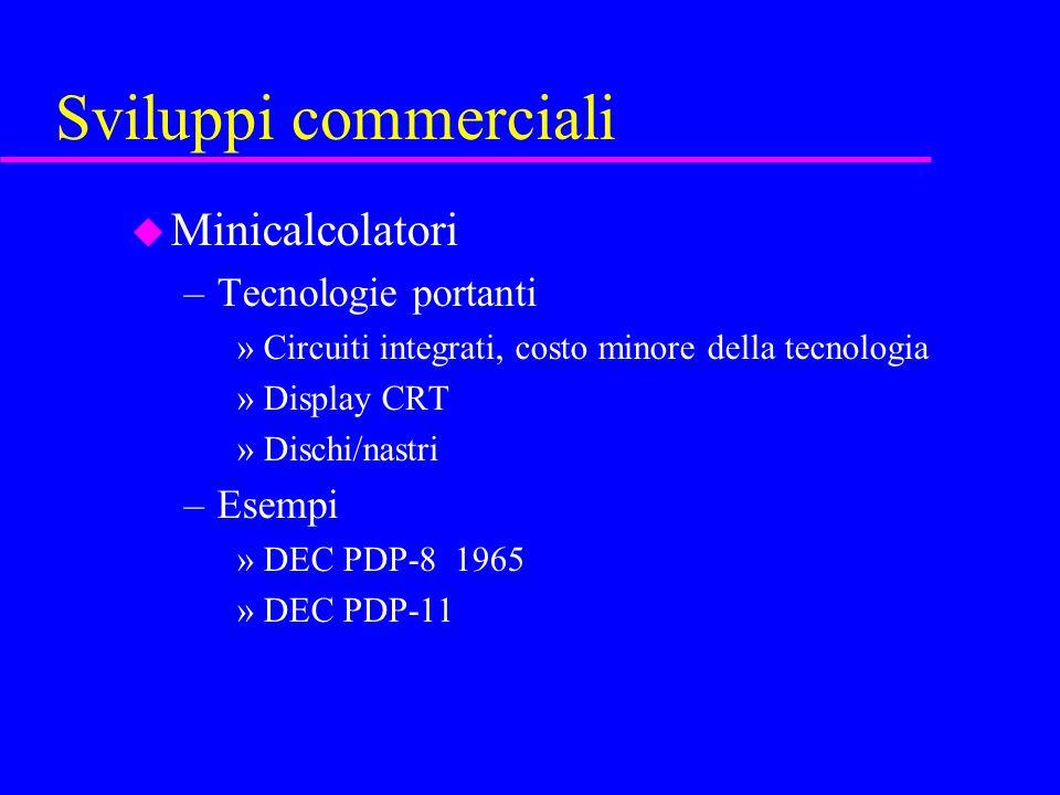 Sviluppi commerciali u Minicalcolatori –Tecnologie portanti »Circuiti integrati, costo minore della tecnologia »Display CRT »Dischi/nastri –Esempi »DEC PDP-8 1965 »DEC PDP-11