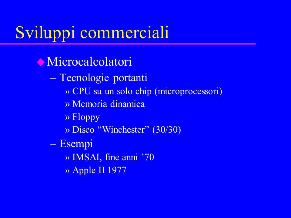 Sviluppi commerciali u Microcalcolatori –Tecnologie portanti »CPU su un solo chip (microprocessori) »Memoria dinamica »Floppy »Disco Winchester (30/30) –Esempi »IMSAI, fine anni 70 »Apple II 1977