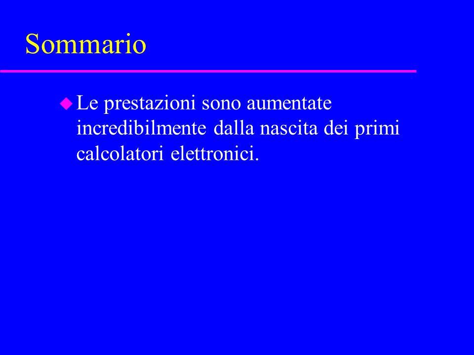Sommario u Le prestazioni sono aumentate incredibilmente dalla nascita dei primi calcolatori elettronici.