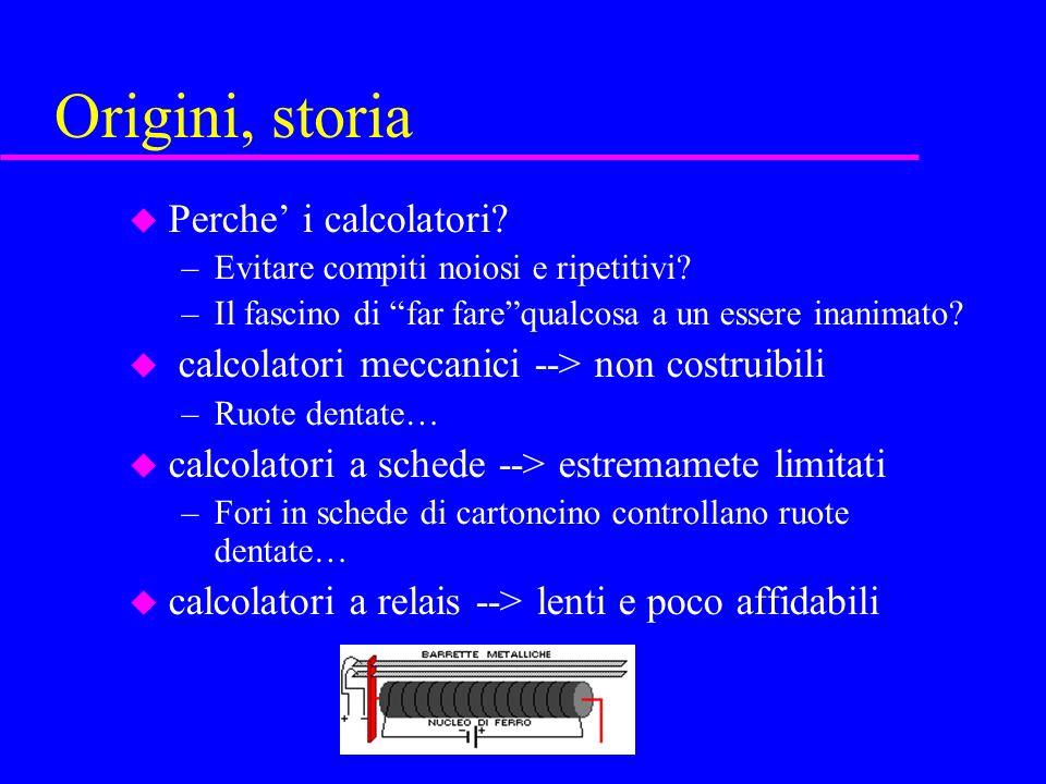 Origini, storia u Perche i calcolatori. –Evitare compiti noiosi e ripetitivi.