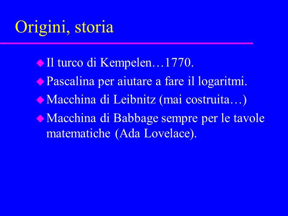 Origini, storia u Il turco di Kempelen…1770. u Pascalina per aiutare a fare il logaritmi.