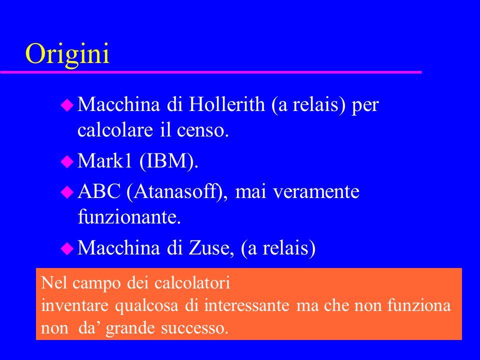 Origini u Macchina di Hollerith (a relais) per calcolare il censo.
