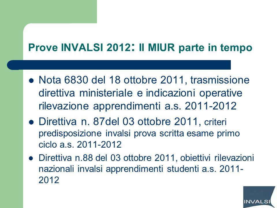 Prove INVALSI 2012 : Il MIUR parte in tempo Nota 6830 del 18 ottobre 2011, trasmissione direttiva ministeriale e indicazioni operative rilevazione app