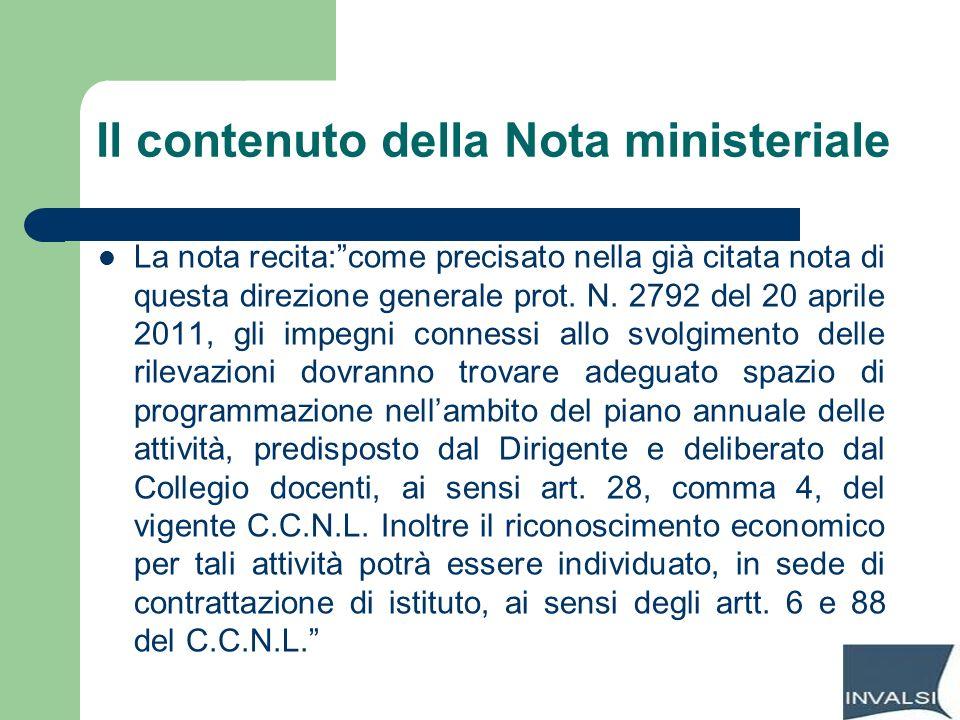 Il contenuto della Nota ministeriale La nota recita:come precisato nella già citata nota di questa direzione generale prot. N. 2792 del 20 aprile 2011