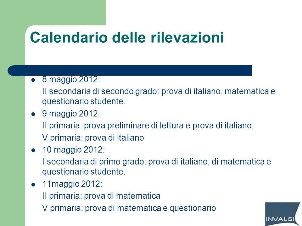 Calendario delle rilevazioni 8 maggio 2012: II secondaria di secondo grado: prova di italiano, matematica e questionario studente. 9 maggio 2012: II p