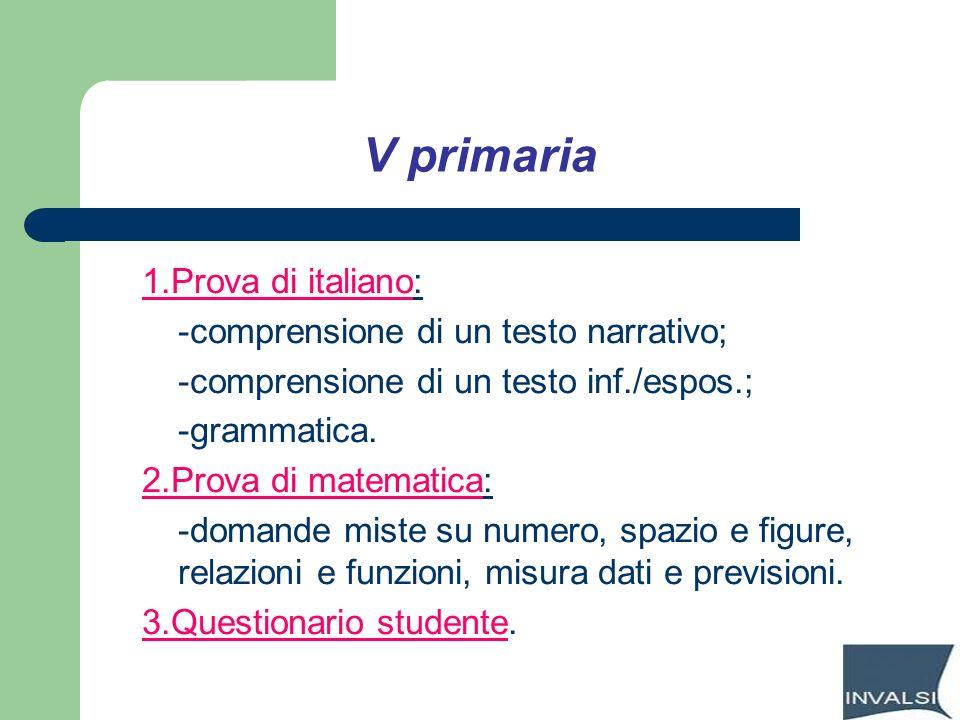 V primaria 1.Prova di italiano: -comprensione di un testo narrativo; -comprensione di un testo inf./espos.; -grammatica. 2.Prova di matematica: -doman