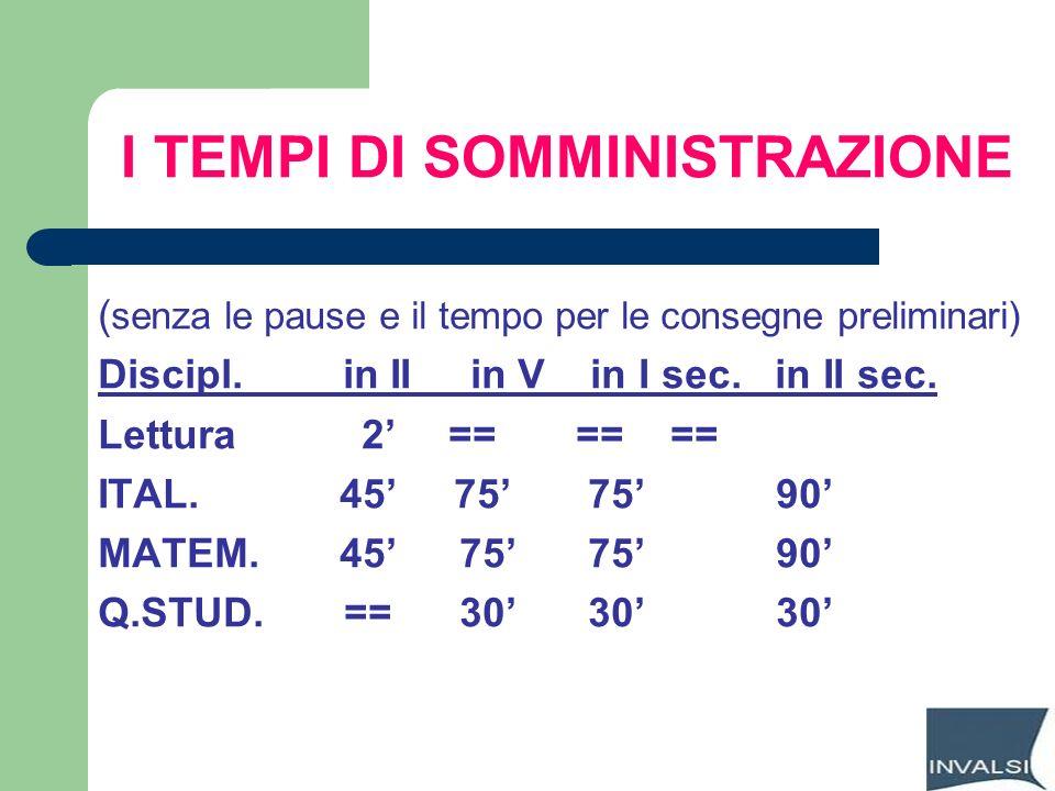 I TEMPI DI SOMMINISTRAZIONE ( senza le pause e il tempo per le consegne preliminari) Discipl. in II in V in I sec. in II sec. Lettura 2 == == == ITAL.