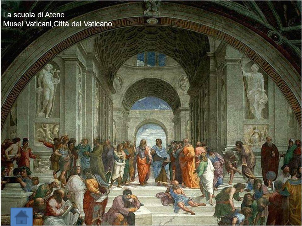 Riprese la Composizione Piramidale di Leonardo e aprì la strada a nuovi criteri compositivi con gli affreschi delle stanze Vaticane. La scuola di Aten