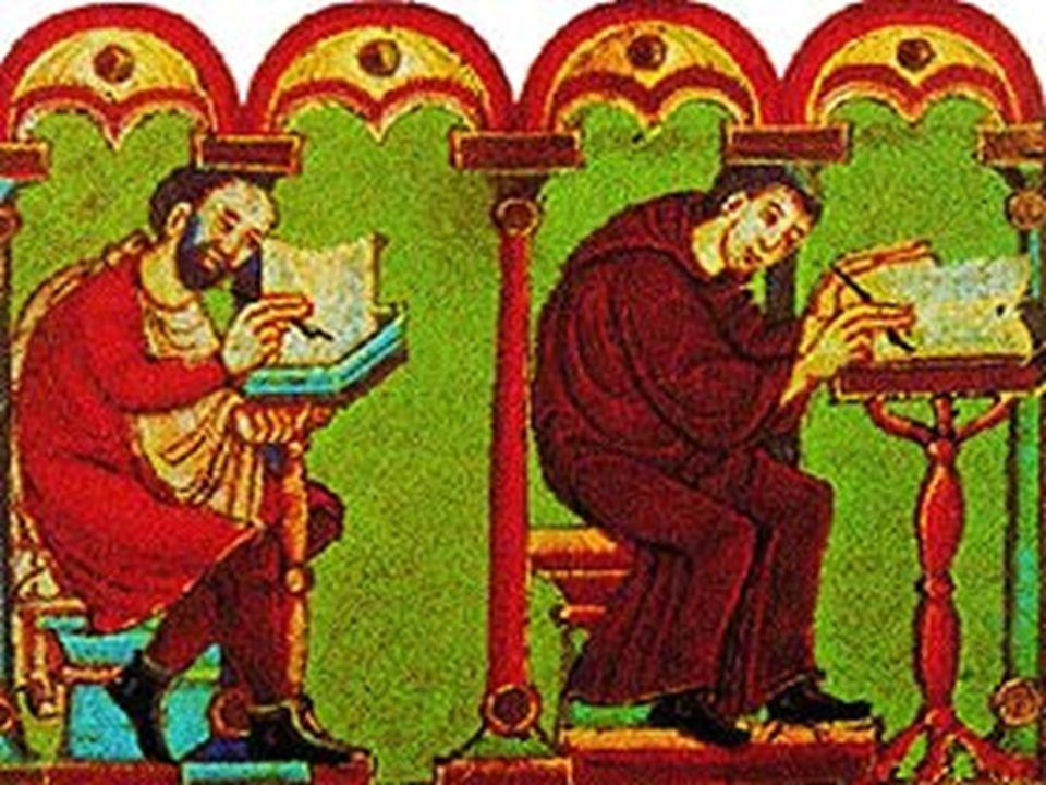 Durante il Medioevo i libri erano copiati su pergamena a mano, dai monaci, detti amanuensi,