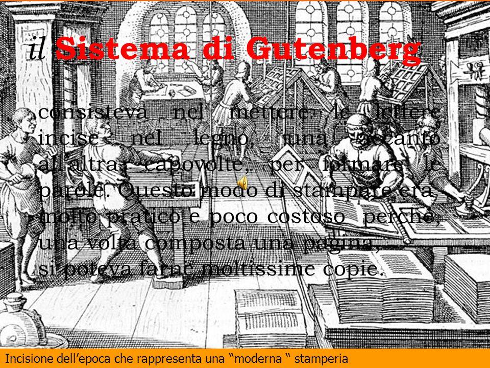 Incisione dellepoca che rappresenta una moderna stamperia il Sistema di Gutenberg consisteva nel mettere le lettere incise nel legno, una accanto alla