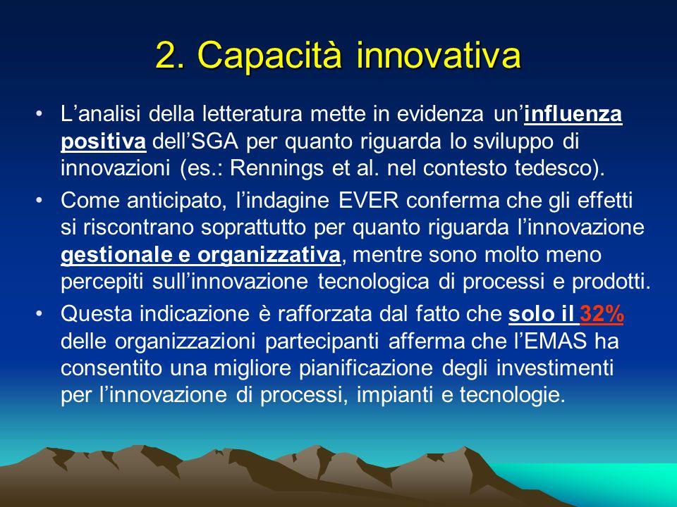 2. Capacità innovativa Lanalisi della letteratura mette in evidenza uninfluenza positiva dellSGA per quanto riguarda lo sviluppo di innovazioni (es.: