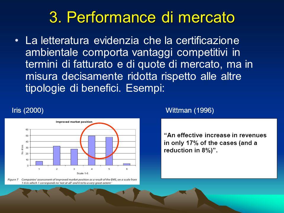 3. Performance di mercato La letteratura evidenzia che la certificazione ambientale comporta vantaggi competitivi in termini di fatturato e di quote d
