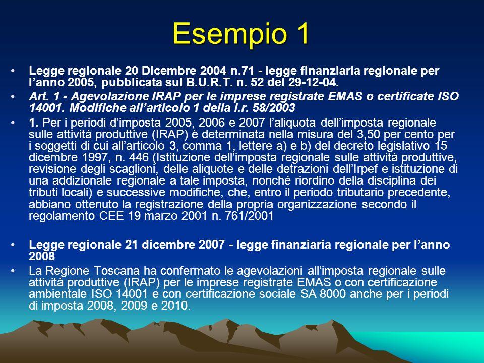 Esempio 1 Legge regionale 20 Dicembre 2004 n.71 - legge finanziaria regionale per lanno 2005, pubblicata sul B.U.R.T.