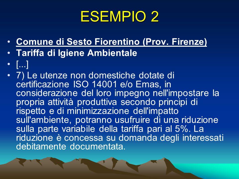 ESEMPIO 2 Comune di Sesto Fiorentino (Prov.