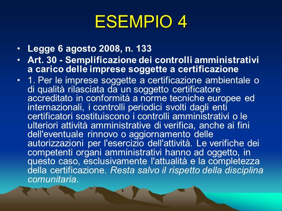 ESEMPIO 4 Legge 6 agosto 2008, n. 133 Art.