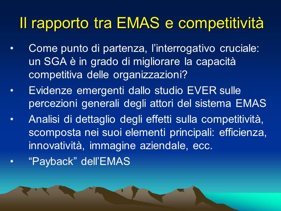 Il rapporto tra EMAS e competitività Come punto di partenza, linterrogativo cruciale: un SGA è in grado di migliorare la capacità competitiva delle organizzazioni.