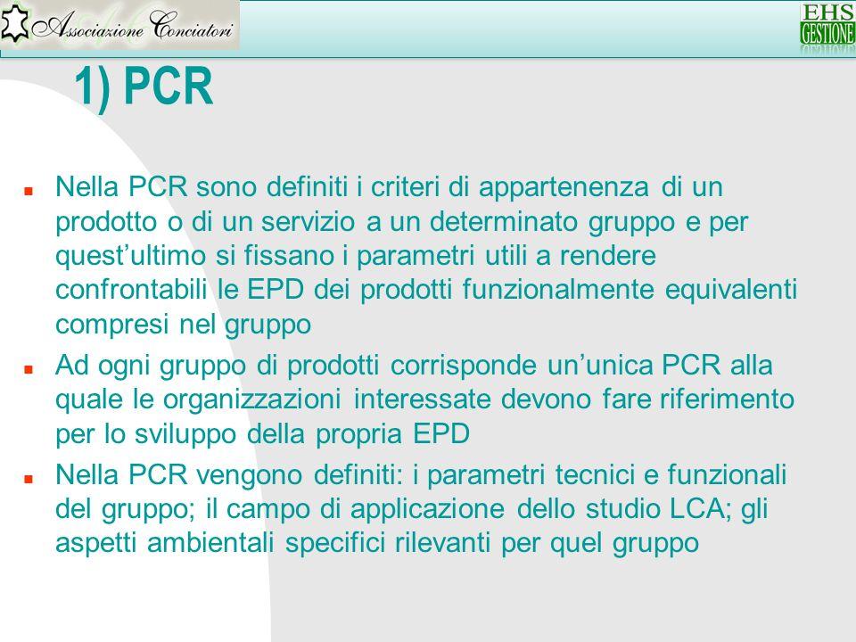 1) PCR n Nella PCR sono definiti i criteri di appartenenza di un prodotto o di un servizio a un determinato gruppo e per questultimo si fissano i para