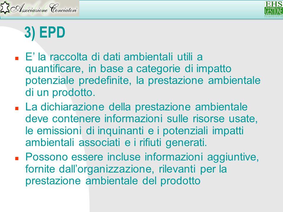 3) EPD n E la raccolta di dati ambientali utili a quantificare, in base a categorie di impatto potenziale predefinite, la prestazione ambientale di un