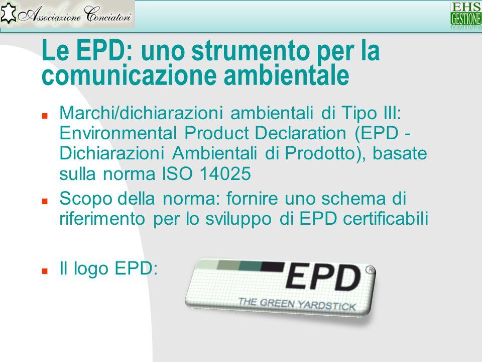 Le EPD: uno strumento per la comunicazione ambientale n Marchi/dichiarazioni ambientali di Tipo III: Environmental Product Declaration (EPD - Dichiara