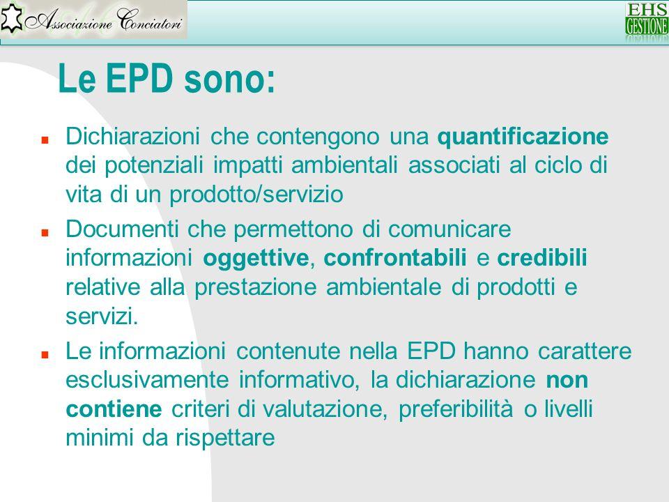 Le EPD sono: n Dichiarazioni che contengono una quantificazione dei potenziali impatti ambientali associati al ciclo di vita di un prodotto/servizio n