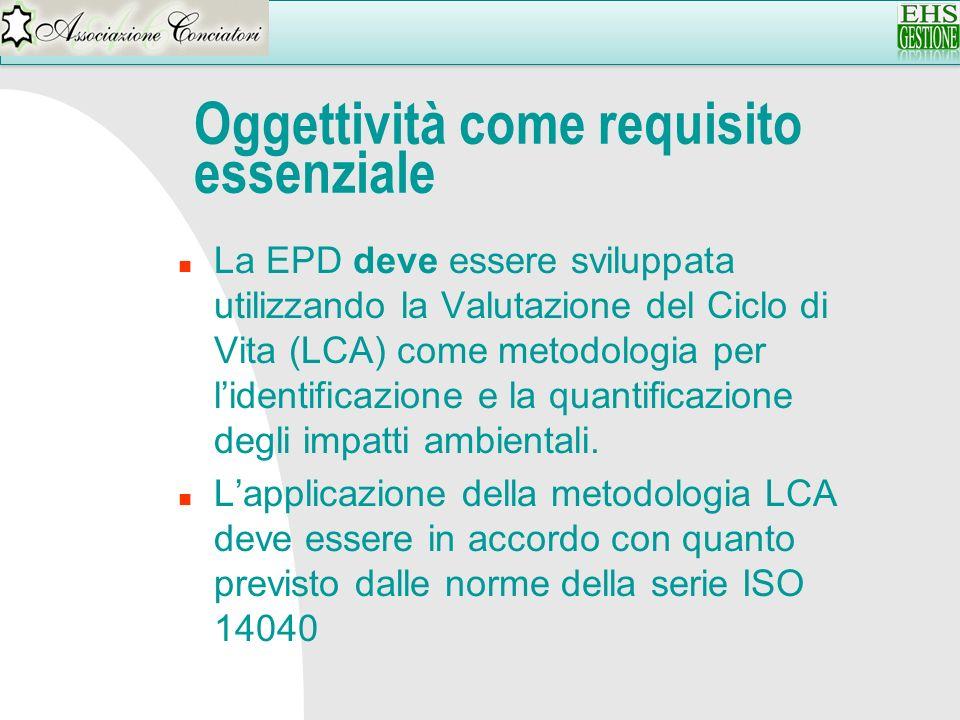 Oggettività come requisito essenziale n La EPD deve essere sviluppata utilizzando la Valutazione del Ciclo di Vita (LCA) come metodologia per lidentif