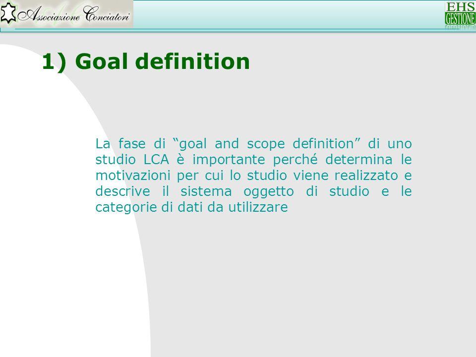 1) Goal definition La fase di goal and scope definition di uno studio LCA è importante perché determina le motivazioni per cui lo studio viene realizz
