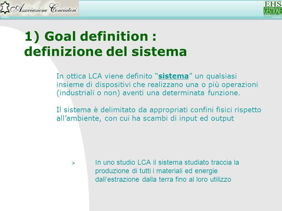 1) Goal definition : definizione del sistema In uno studio LCA il sistema studiato traccia la produzione di tutti i materiali ed energie dallestrazion